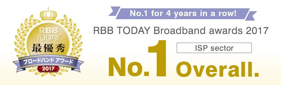 No.1 overall for 4 years in a row! RBB TODAY Broadband awards 2017 - ISP Sector