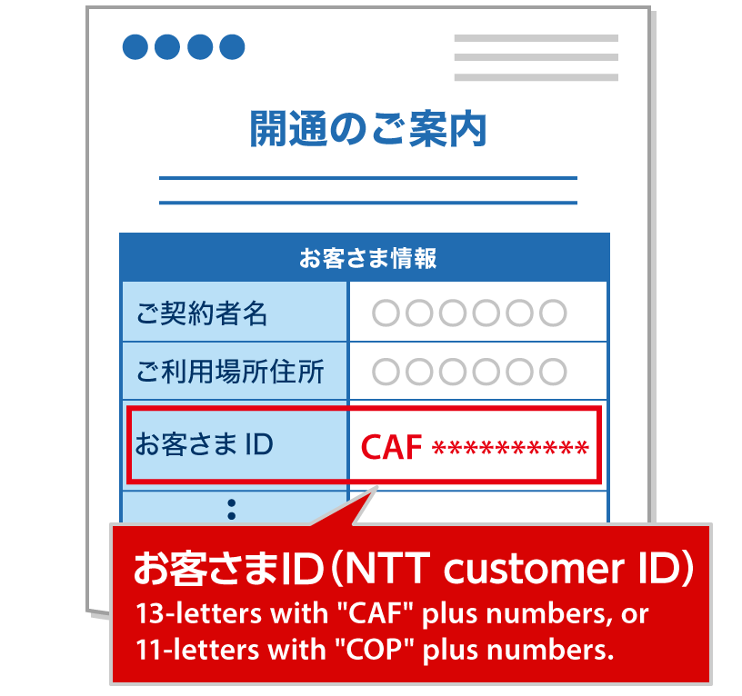 The example of「開通のご案内」(the line work completion notice) paper document sent from NTT EAST at the time of contract.