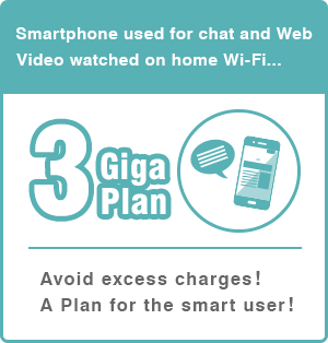 Smartphone used for chat and Web | Video watched on home Wi-Fi... | 3 Giga Plan