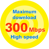 Maximum download 300 Mbps High speed