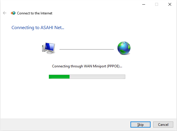 Windows 10 PPPoE Configuration|Asahi Net